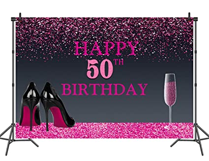 Sensfun Happy 50th Birthday Backdrop Pink Gold And Black Photo Studio Booth Background 7x5ft Vinyl Women Birthday Party Banner Photography Backdrops