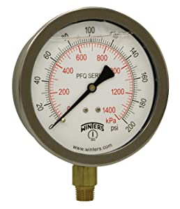 "Winters PFQ Series Stainless Steel 304 Dual Scale Liquid Filled Pressure Gauge with Brass Internals, 0-200 psi/kpa,4"" Dial Display, +/- 1.5% Accuracy, 1/4"" NPT Bottom Mount"
