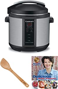 Cuisinart 6-Quart Electric Pressure Cooker (Brushed Stainless and Matte Black) w/Bonus Bamboo Spatula & Cookbook (3 Items)