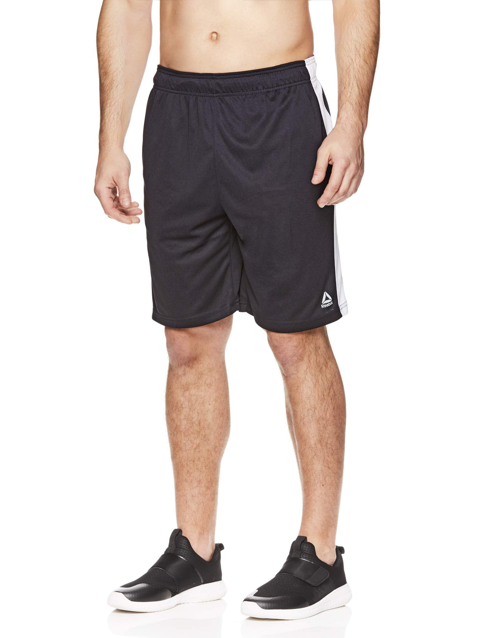 Reebok Men's Drawstring Shorts - Athletic Running & Workout Short w/Pockets - Dadson Black Heather/Stark White, Small