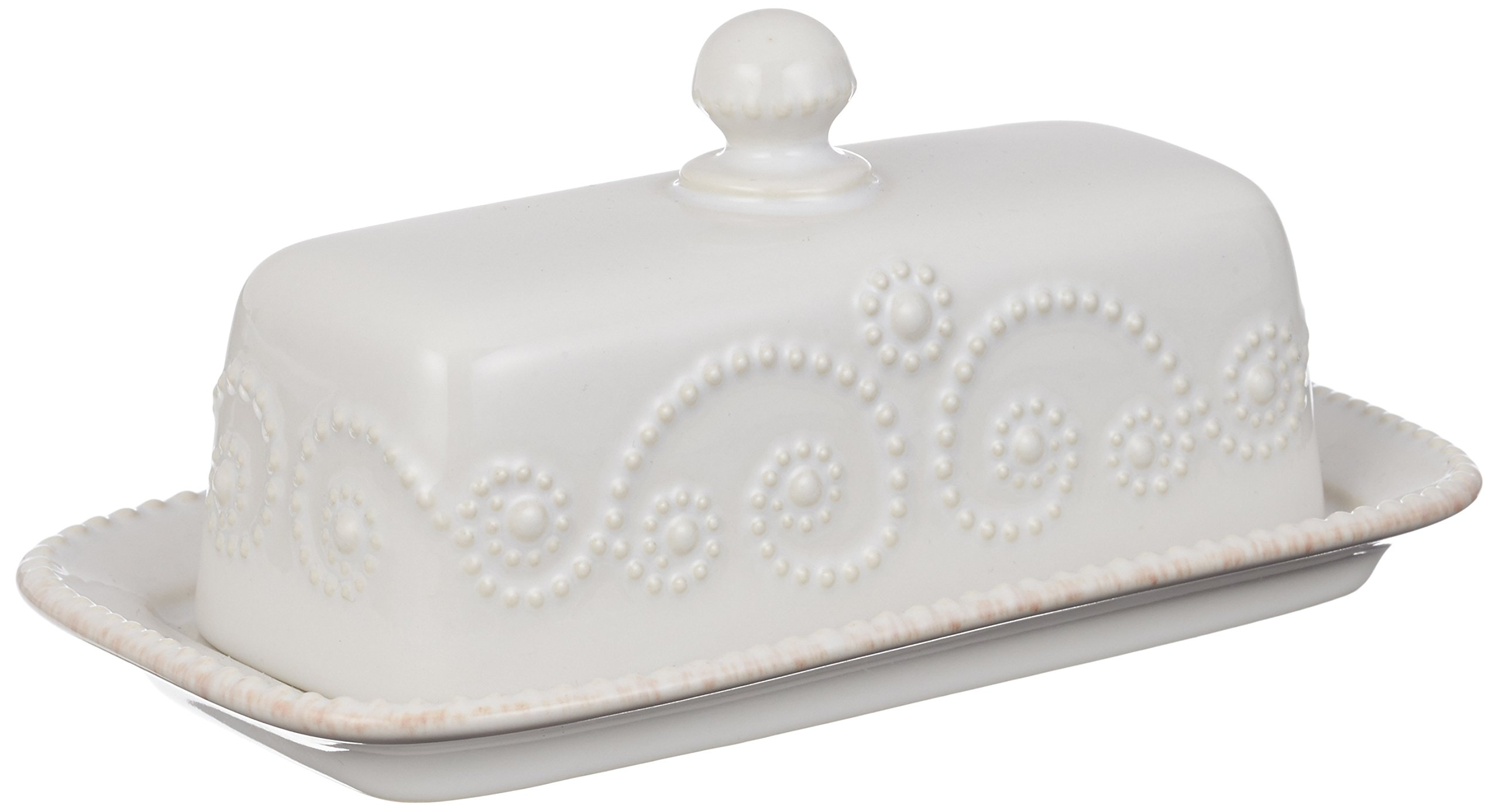 Lenox French Perle Covered Butter Dish, White