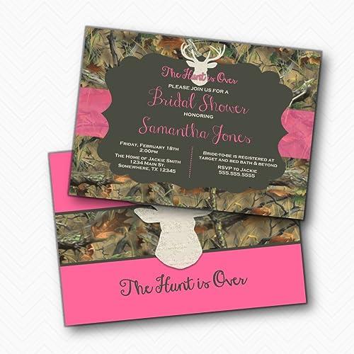 the hunt is over deer antler camo bridal shower invitations pink envelopes included