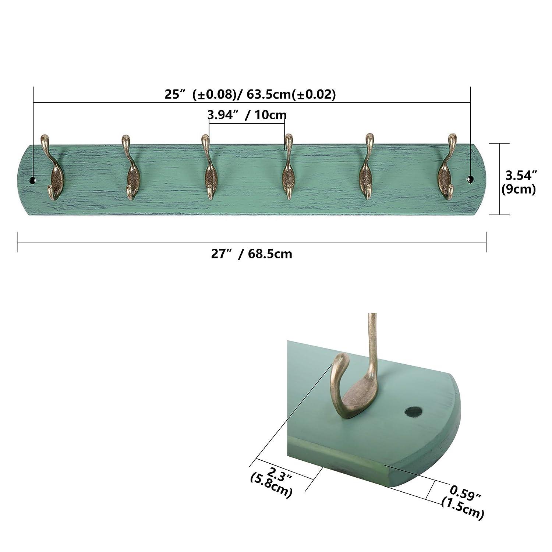 DOKEHOM 2 Piezas 6-Ganchos de Bronce Antiguo Percheros de Pared para Abrigos sobre Tabla de Madera Perchero Percha (Mediterráneo Azul)