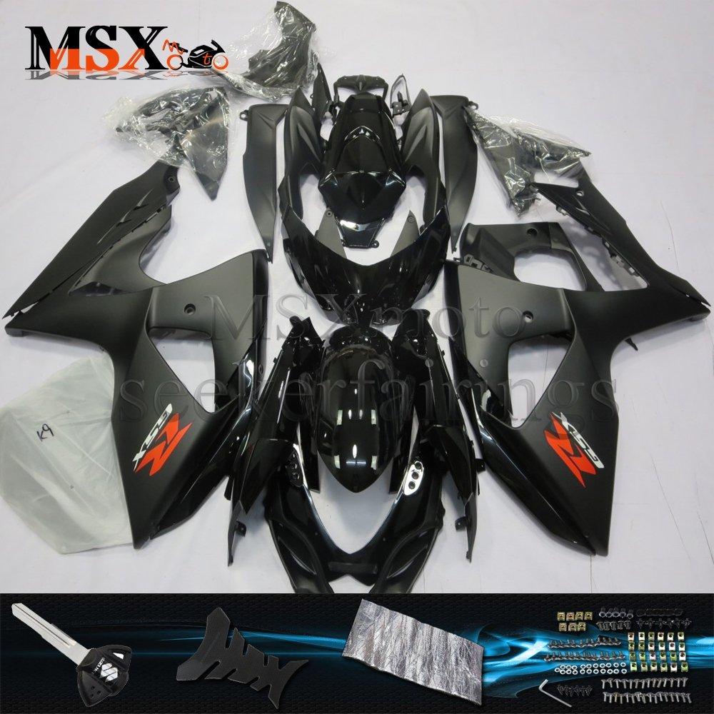 MSX-moto 適応ホンダ Suzuki GSXR1000 2009 2010 2011 2012 2013 2014 2015 2016 GSXR 1000 K9 09-16年 外装パーツセット ABS射出成型完全なオートバイ車体 黒/ブラックのボディ   B07F28GW8S