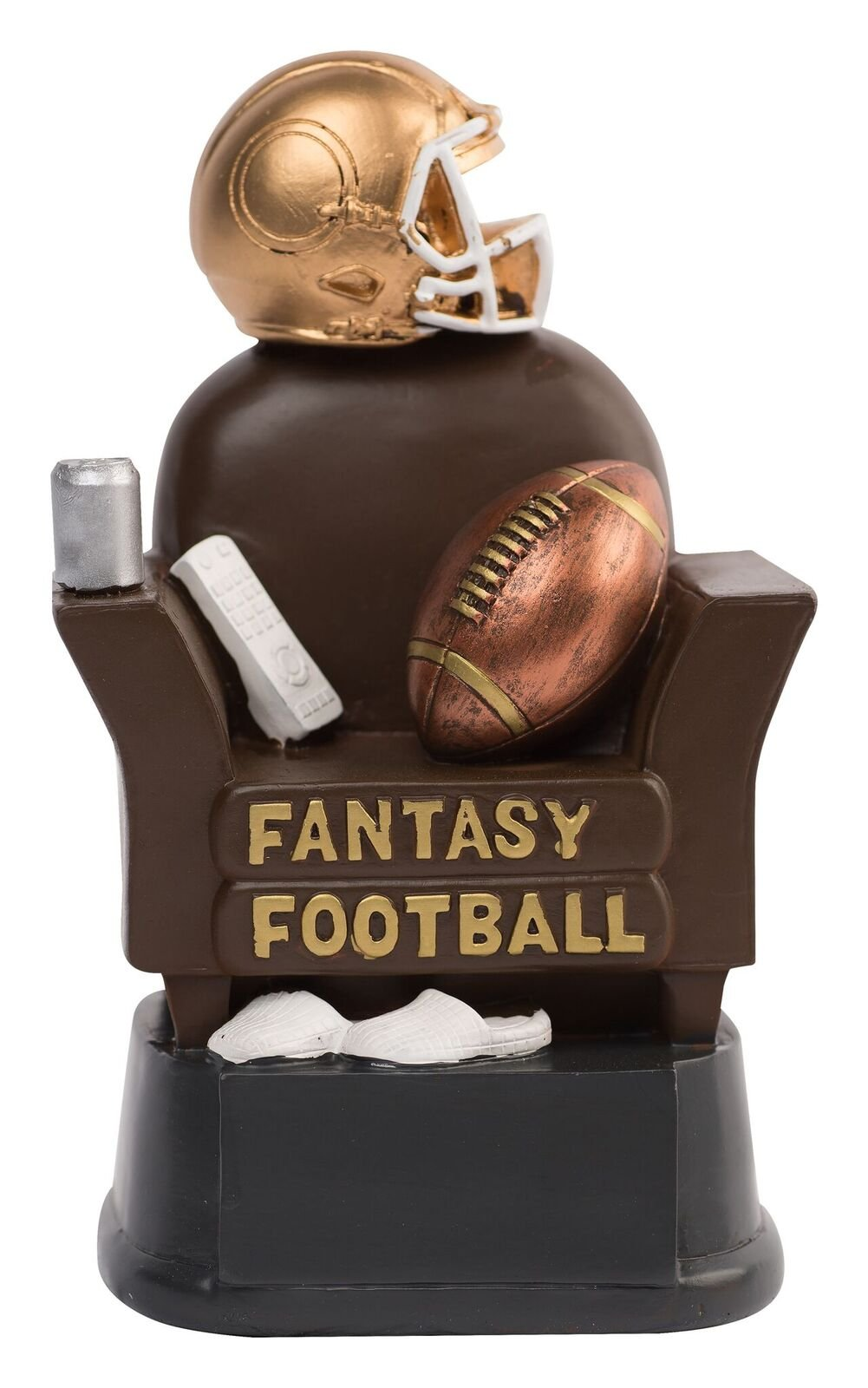 NEW Fantasy Football Couch Trophy (Brown) - UP TO 3 LINE ENGRAVING PLATE AVAILABLE UPON REQUEST