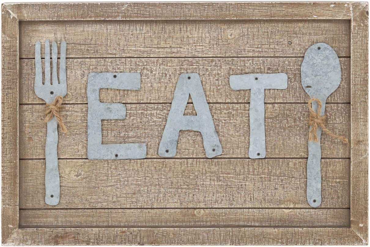 Parisloft Distressed Wood Framed Eat Sign Decor with Galvanized Letters, Fork and Spoon, Funny Wall Art, Farmhouse Wooden Sign