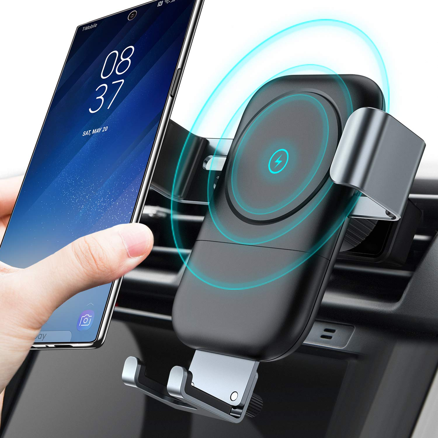 TORRAS Wireless Car Charger Mount, Auto-Clamping Gravity Fast Cell Phone Charger Holder Compatible with iPhone 11 Pro Max/Xs/Xs Max/XR/X / 8/8 Plus, Galaxy Note 10 / S10 / S9+ / S8, More by TORRAS
