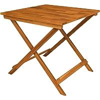 SOLDES D'HIVER! Table de Patio Pliante en Bois Sydney 75x75x73 cm, Teck doré