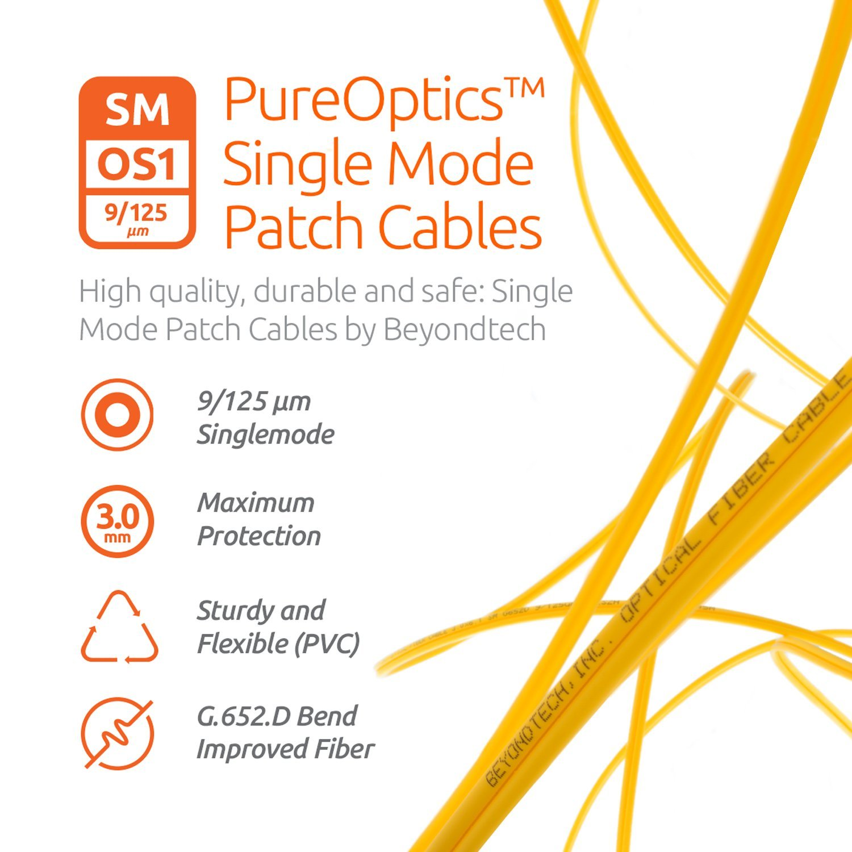SC to SC Fiber Patch Cable Single Mode Duplex - 30m (98ft) - 9/125 OS1 - Beyondtech PureOptics Series by BEYONDTECH (Image #3)