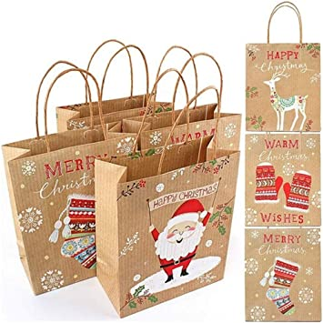 Amazon.com: Paper Bags,Christmas Party Kraft Gift Bag with ...