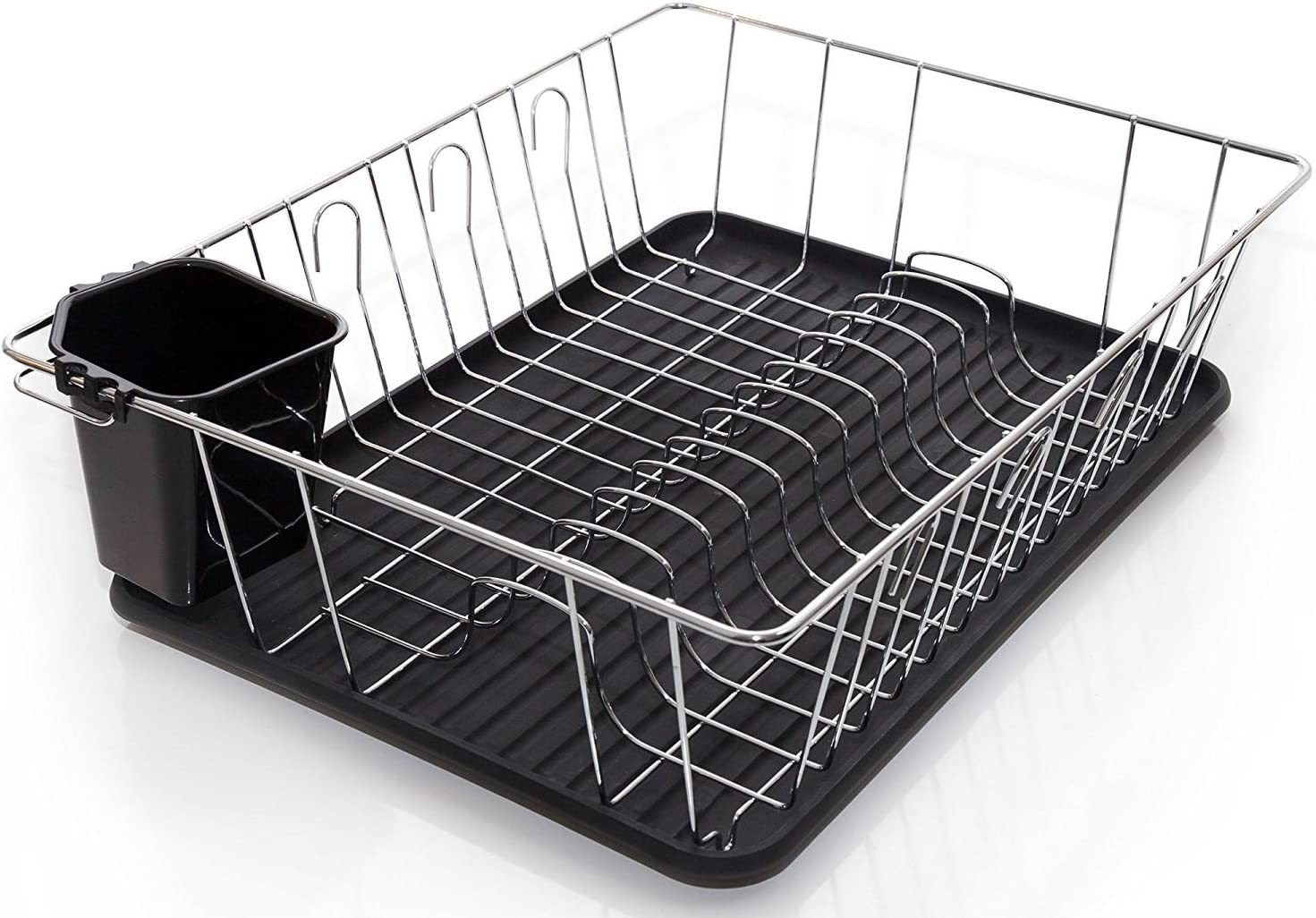 """Home Intuition 3-Piece Dish Drying Rack Drainer Set 17"""" x 13.75"""" x 5"""" (Black)"""