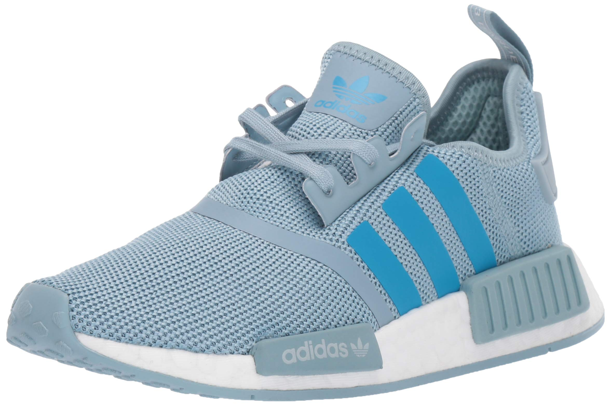 adidas Originals Unisex NMD_R1 Running Shoe, ash Grey/Shock Cyan/White, 3.5 M US Big Kid by adidas Originals