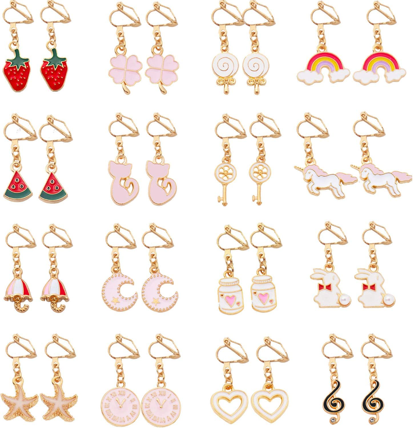 SOTOGO 16 Pairs Clip On Earrings Unicorn Rainbow Sweet Earrings for Little Girls and Women