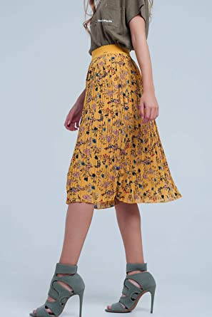 Q2 Falda Plisada con Flores Color Mostaza, Amarillo, L Mujeres ...