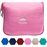 BlueHills Premium Soft Travel Blanket Pillow Airplane Blanket Packed in Soft Bag Pillowcase with Hand Luggage Belt and Backpack Clip, Compact Pack Large Blanket for Any Travel (Pink T004)