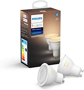 Philips Hue White Ambiance Smart Spotlight Twin Pack LED [GU10 Spot] with Bluetooth, Works with Alexa and Google Assistant