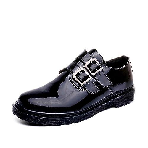 Tqgold Zapato Velcro Estilo de Doble Hebilla Casual Elegante Mocasines Cuero Derby Boda Calzado para Hombre