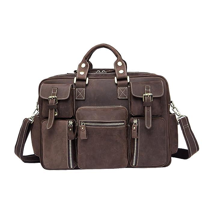 Ayer Bolsos Hechos A Mano De Alta Calidad 100% Hombres De Cuero Maletín Mochila Travel Bag Laptop Bag Messenger Pack: Amazon.es: Ropa y accesorios