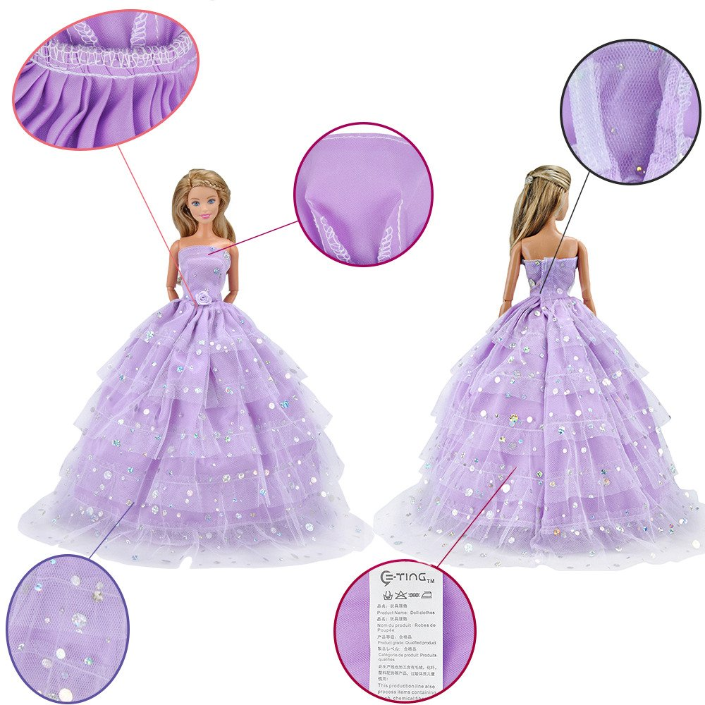 E-TING 2 pcs Beautiful Bride Clothing with Veil Party Ball Dresses for Girl Dolls