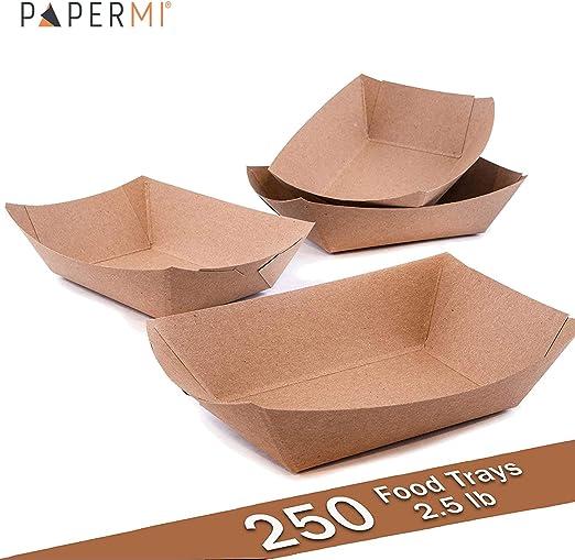 Bandeja de papel kraft marrón para alimentos, capacidad de 2,5lb, ecológica Kraft alimentos bandejas de