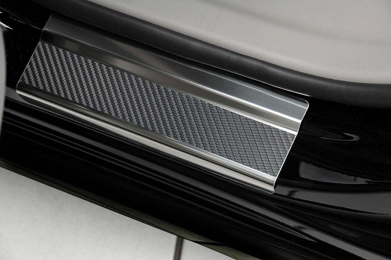 PKWelt 4 Molduras umbrales de puerta Protectores de umbral de coche de acero inoxidable y carbon