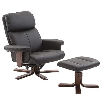 c3b92e0ba7ea81 Homcom Fauteuil Relax Style Contemporain Grand Confort inclinable pivotant  Repose-Pieds intégré Bois Simili Cuir