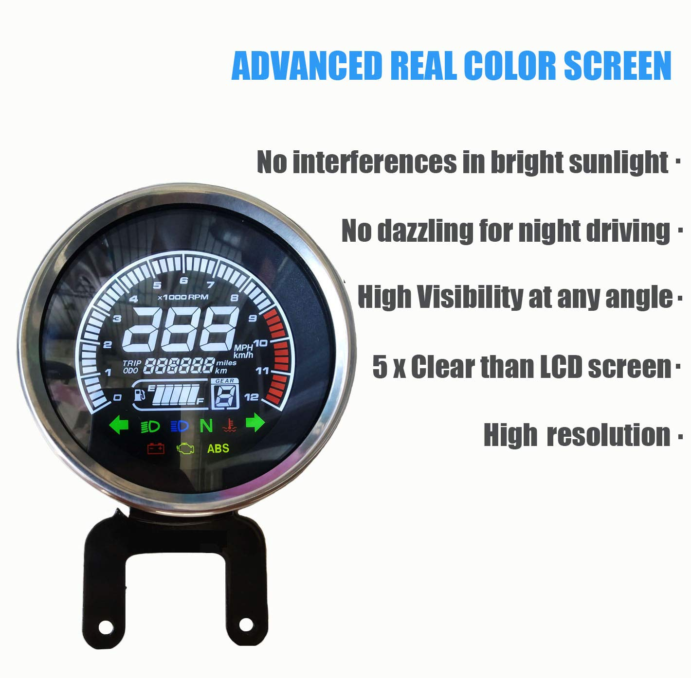 Veloc/ímetro de Motocicleta BiuZi 2 en 1 LED Digital Impermeable para Motocicleta Volt/ímetro Tac/ómetro Calibrador de Metal Od/ómetro Veloc/ímetro