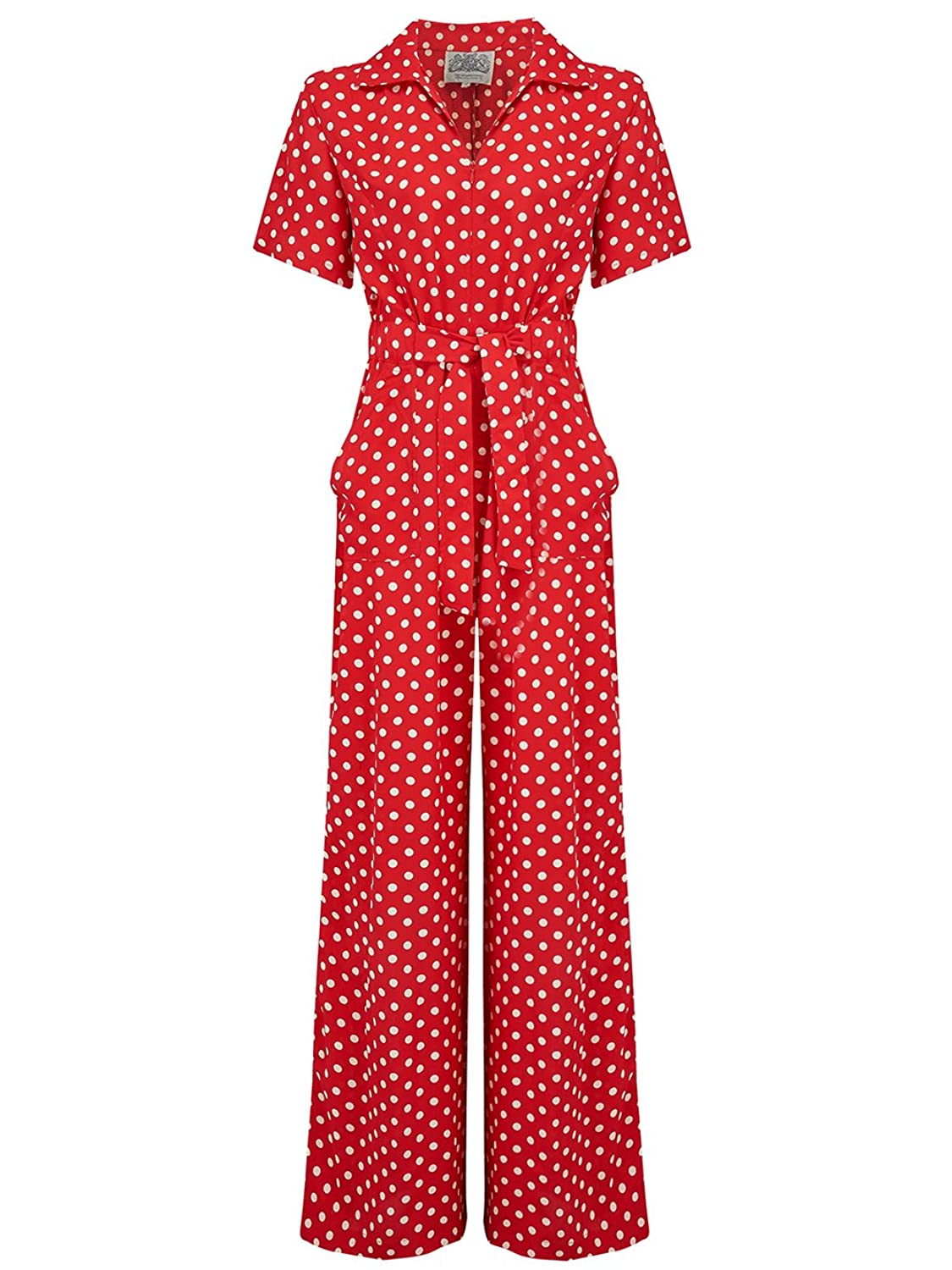 1940s Swing Pants & Sailor Trousers- Wide Leg, High Waist 1940s Vintage Inspired Lauren jumpsuit in Red Spot by The Seamstress of Bloomsbury £89.00 AT vintagedancer.com