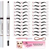 Eyebrow Stencil & Eyebrow Pencil, 30 Eyebrow Shaper Kit, Reusable Eyebrow Template With Strap & Eyebrow Razor, Waterproof Eye