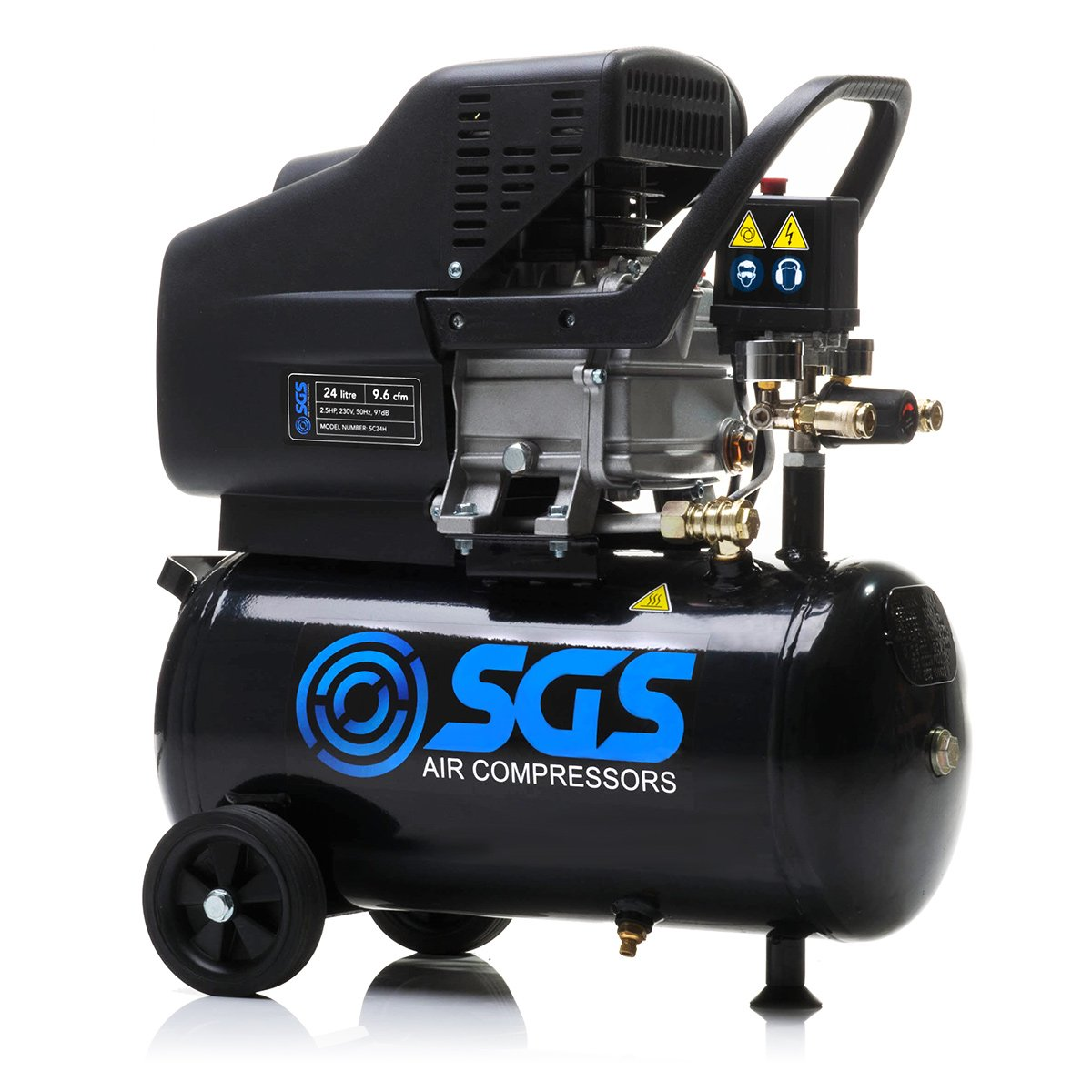 24 Litre Air Compressor - 9.6CFM, 2.5HP, 24L SGS Engineering