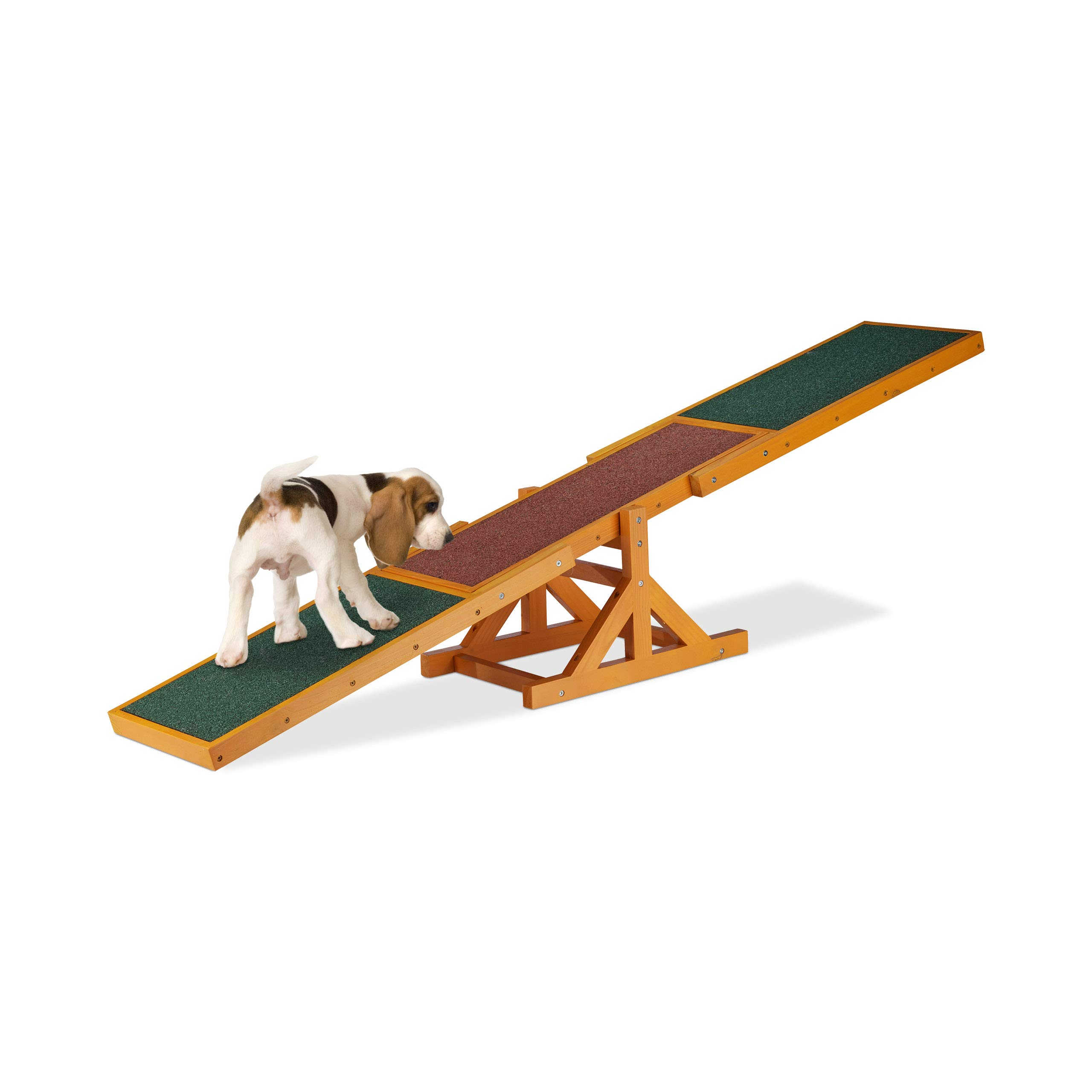 Relaxdays Colourful Wooden Pet Seesaw for Big and Small Dogs, Equipment for Agility and Obedience Training, 54 x 180 x 30 cm, Brown