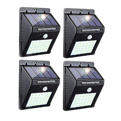 30 LED Solar Lights Outdoor, 3 Optional Modes Wireless Waterproof Motion Sensor Outdoor Security Lights for Front Door, Yard, Garage, Deck (4 Pack-)