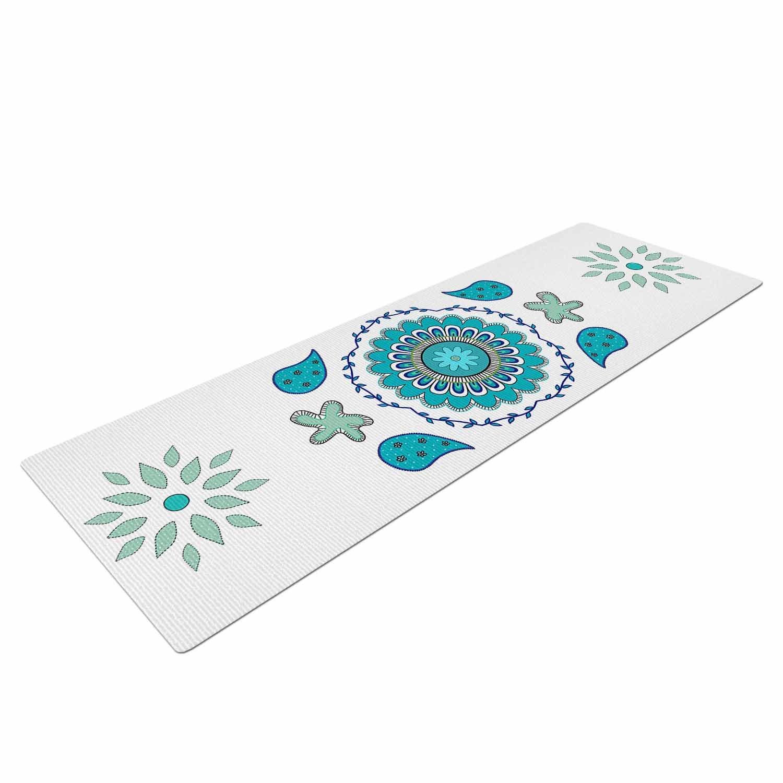 CB2050AYM01 72 x 24 72 x 24 KESS Global Inc KESS InHouse Cristina Bianco Design Blue Mandala Design Blue White Painting Mat
