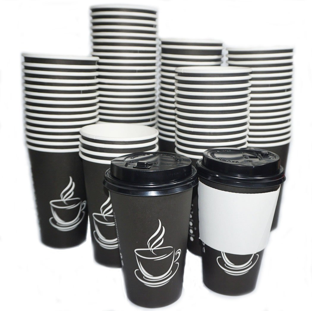 100 PACK 16oz Disposable Coffee Cups With Lids, Hot Paper Coffee Cups Lids Holds Shape With Hot, Cold Drinks, Sleeves included