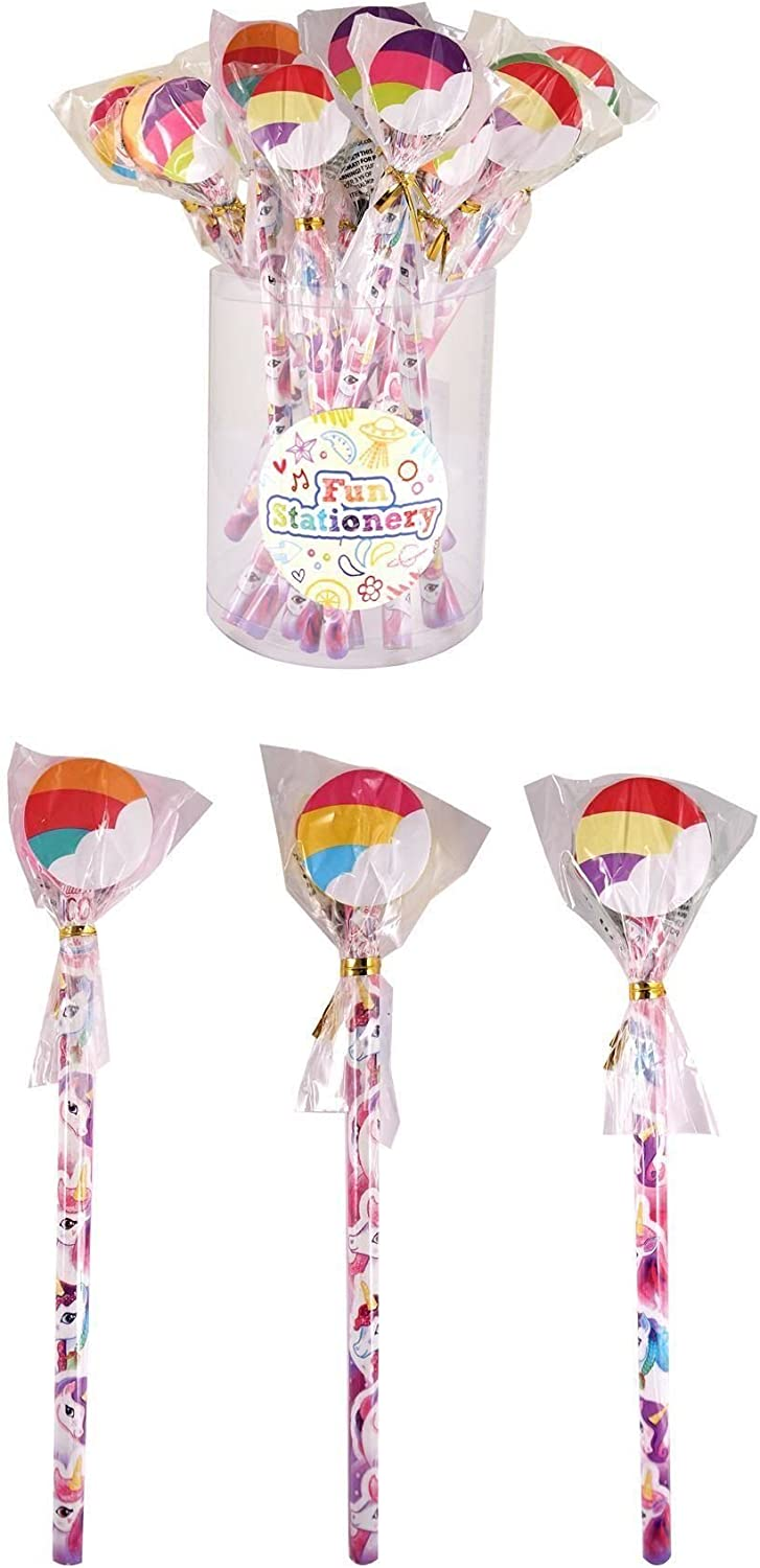 24 x Unicorn Pencil With Eraser Top Rubber Kids Party Bag Fillers Pinata Toy