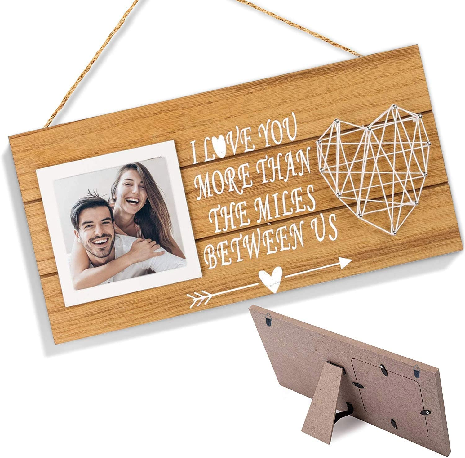 LEJHOME Boyfriend and Girlfriend Couples Romantic Picture Frame for 3x3 Photo - Hanging Photo Display with String Art Heart - Rustic Wall Sign Decor Gifts for Him Her