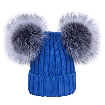 42125cd668d Women s Winter Ribbed Knitted Faux Fur Double Pom Pom Beanie Hat Blue   Amazon.ca  Luggage   Bags