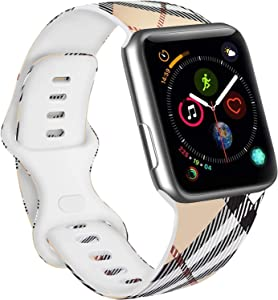 Vanjua Floral Bands Compatible with Apple Watch 38mm 40mm 42mm 44mm Soft Silicone Pattern Printed Replacement Wristband Strap Compatible with iWatch Series 6 5 4 3 2 1 SE (Grid, 42mm/44mm-S/M)
