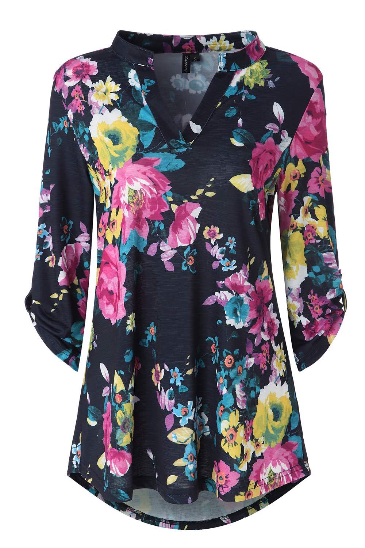 574f926a6e982 Zattcas Womens Floral Printed Tunic Shirts 3 4 Roll Sleeve Notch Neck Tunic  Top