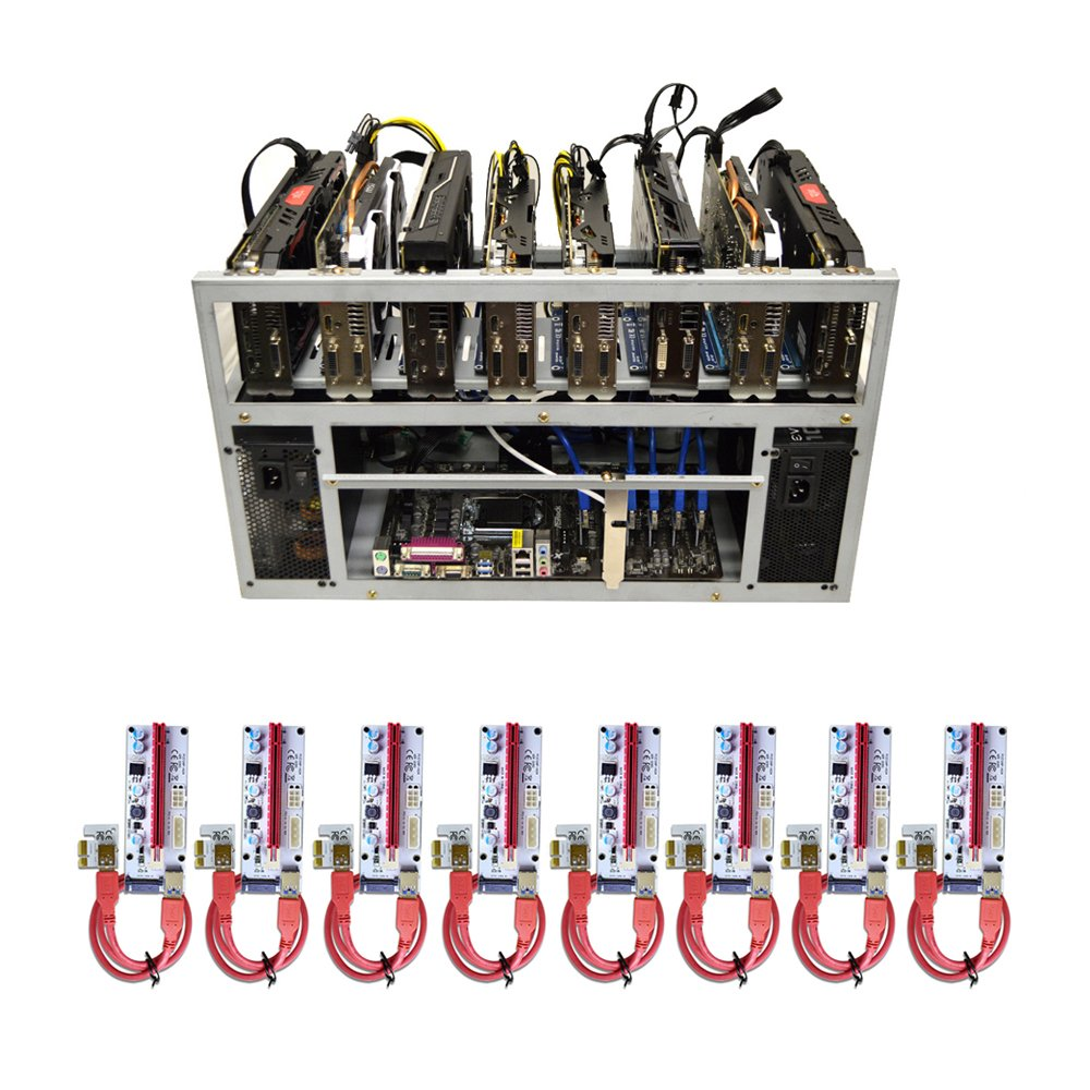 SPARTAN V2 Open Air GPU Mining Rig Frame Computer Case Chassis With 8 USB Risers - Ethereum ETH Zcash ZEC Monero XMR