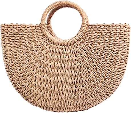 Straw Bag for Women Large Woven Bag Round Handle Ring Tote Retro Purse Hobo Summer Beach Bag
