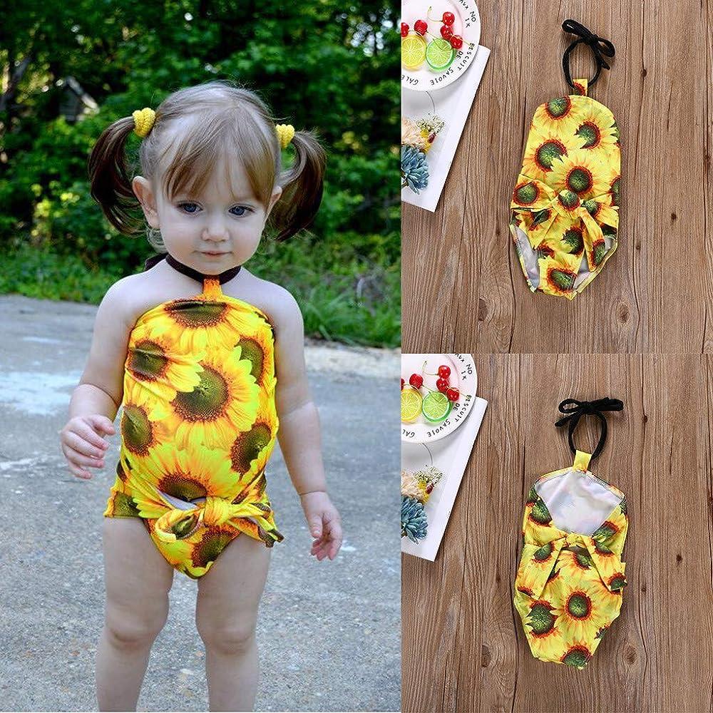 HEETEY - Disfraz de natación para niña, sin Mangas, con Lazo de ...