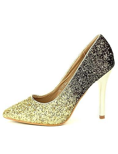 075c3c264918a6 Cendriyon, Escarpins Dorés Bi Color Laura Chaussures Femme Taille 41 ...