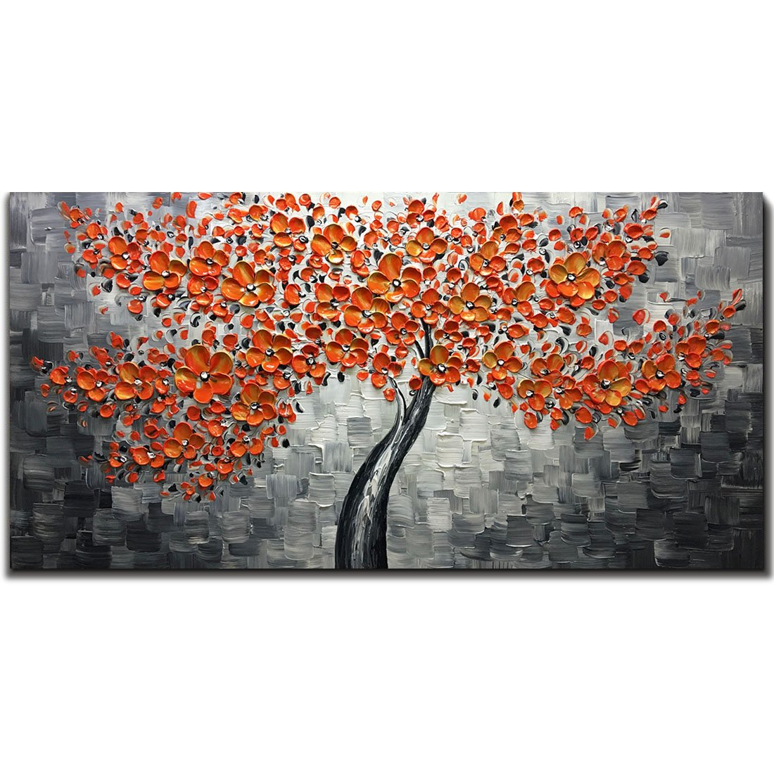 Metuu Modern Canvas Paintings, Texture Palette Knife Red Flowers Paintings Modern Home Decor Wall Art Painting Colorful 3D Flowers Tree Wood Inside Framed Ready to hang 24x48inch by Metuu