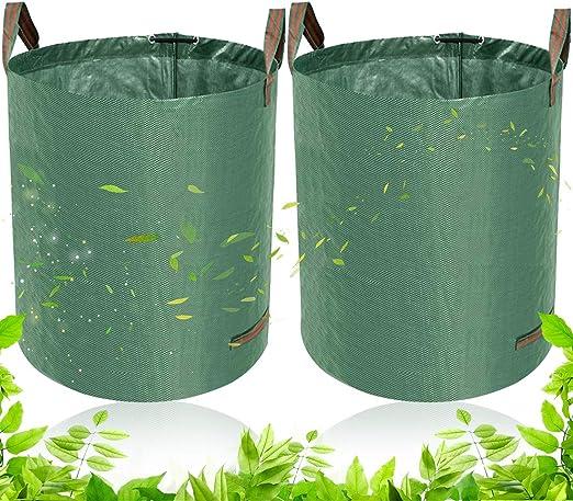 BETOY Bolsas de jardín – 2 pcs Bolsas de Basura de jardín Hojas y Saco Extra Resistente(60L) –Saco de jardín Premium estables y plegables. Estable y reutilizable de polipropileno resistente (PP): Amazon.es: