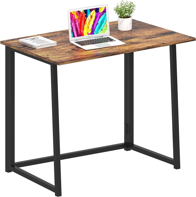GHQME Folding Desk,Laptop Desk Home Office Desk Study Writing Desk No-Assembly Small Space (Fire Board): Kitchen & Dining
