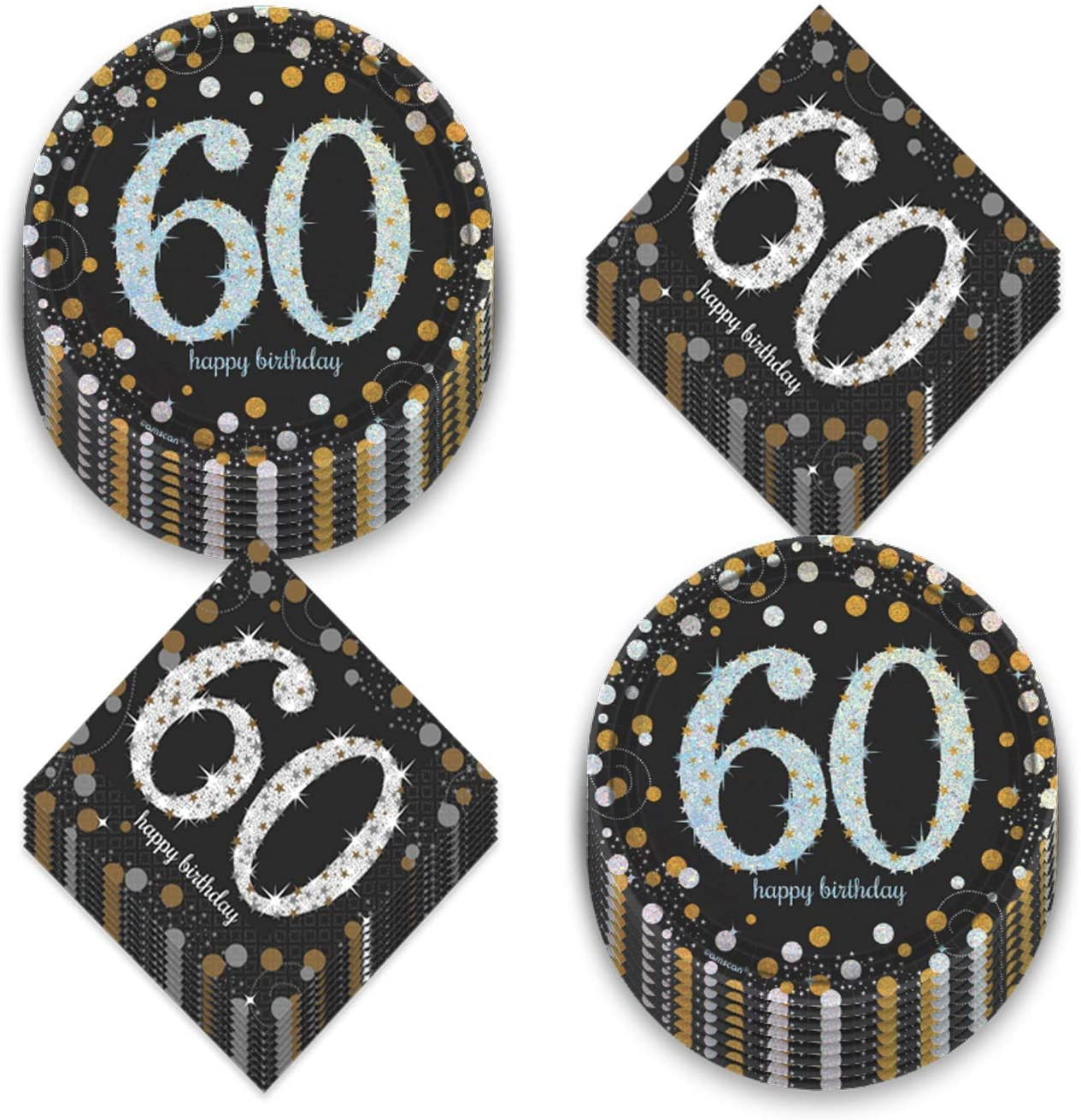 60th Birthday Party Supplies - Metallic Silver and Gold Dot Paper Dessert Plates and Beverage Napkins (Serves 16)