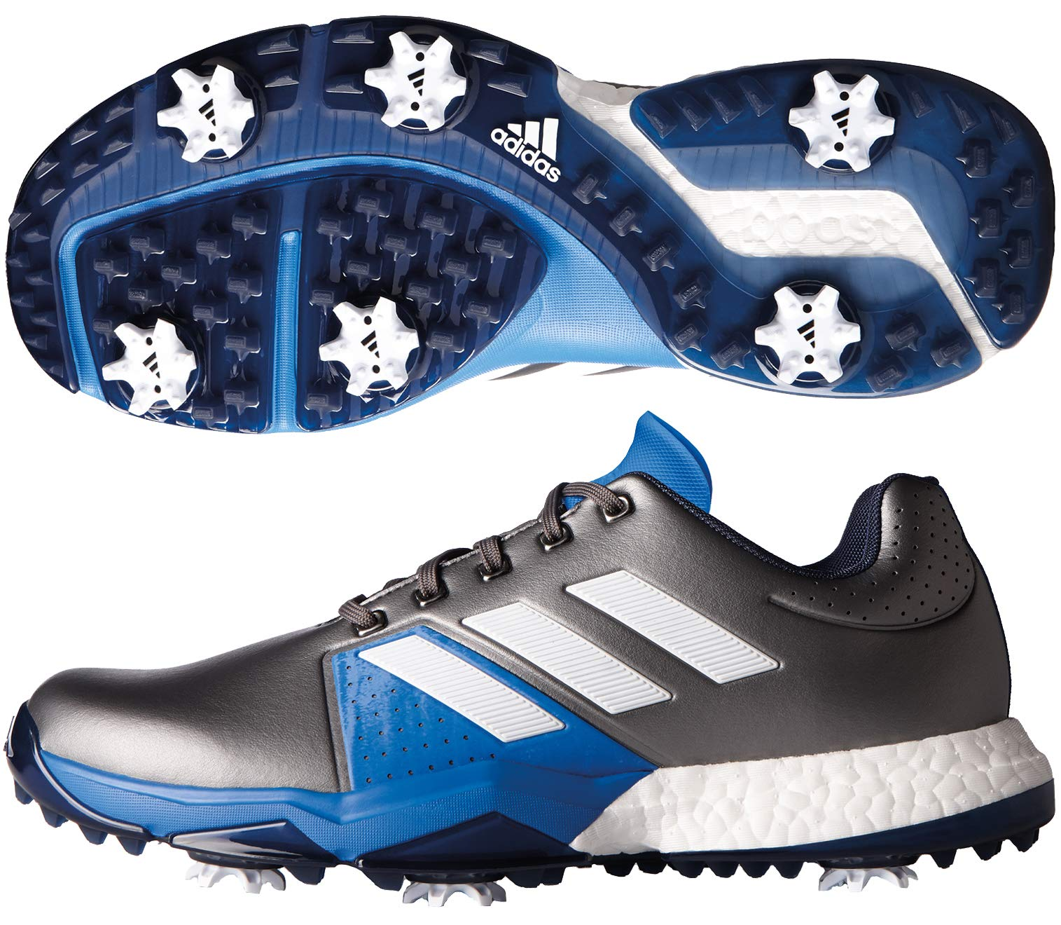 adidas Men's Adipower Boost 3 Golf Shoe, Dark Silver Metallic/White/Blast Blue, 7 M US