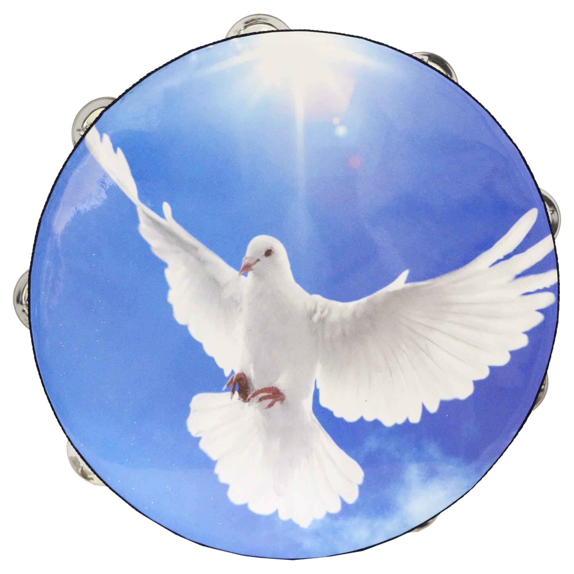 Danzcue 10 Inches Worship Dove Double Rows Jingles Tambourine