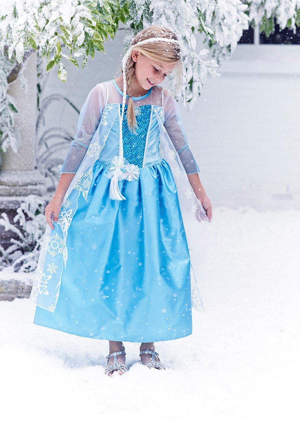 Disney licensed Queen Elsa fancy dress with Hairpiece 8-9yrs Frozen ...